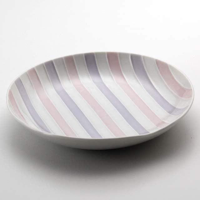 シェル多用皿A/白磁(ピンクとパープル)